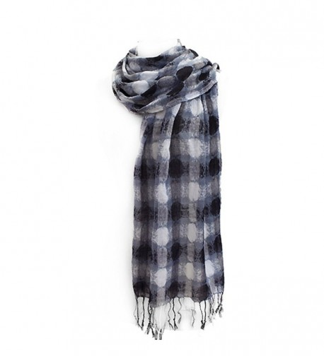 ACCESSORIESFOREVER Women Dot Woven Design Fashion Fringe Scarf - Black/White - CK11B7E74LN