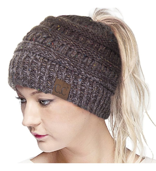ScarvesMe CC Confetti Ombre Beanietail Ponytail Messy Bun Solid Ribbed Beanie Hat Cap - Brown - CP185XG7593