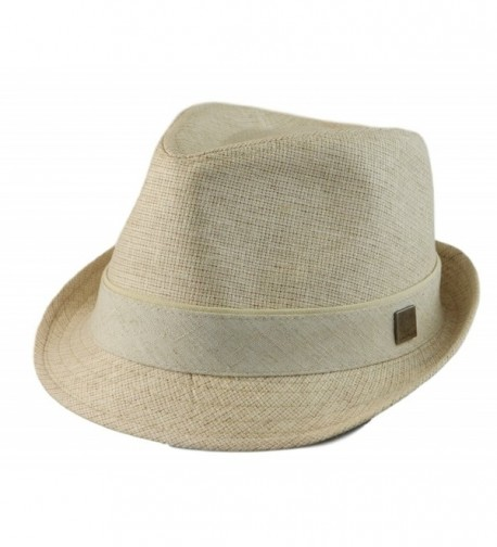 Hatter Big size Mens Classic Fedora Short Brim Trilby Hat XL(60cm)- XXL(62cm) - Natural - CD11VS3VAOJ