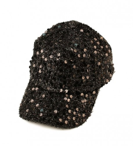 Dance Recital Flashy Shiny Shimmer Sequins Baseball Ball Cap Hat Adjustable - Black - CC125W8165J