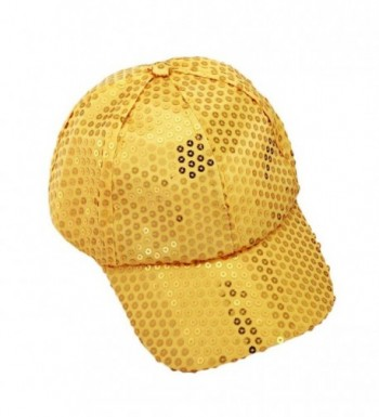 Hatop Sequin Adjustable Super Cool Sport Outdoor Cloth Baseball Cap (Yellow) - CL12DAFPNKJ