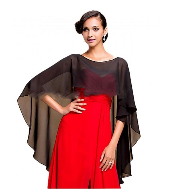 Hot Dresses Women's Chiffon Soft Shawl for Weddings Evening Wraps - Black - CN184XR2457
