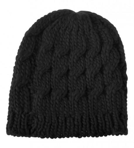 Zodaca Warm Chunky Soft Stretch Cable Women Knit Slouchy Beanie Skully Crochet Hat - Black - C912BGVBZZ7