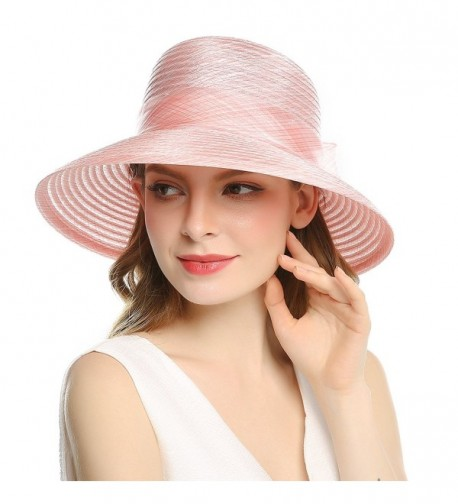 Welrog Women's Organza Wide Brim Bowknot Ponytail Kentucky Derby Church Dress Sun Hat - Pink - CT1807MT965
