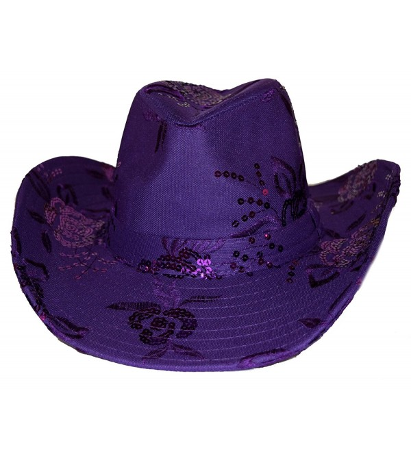 Sequin Floral Embroidered Western Hat in Purple - CR12BY7W0KH