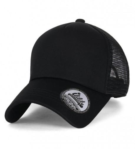 ililily Plain Baseball Cap Simple Mesh Snapback Color Trucker Hat - All Black - CU12JU4PDHD
