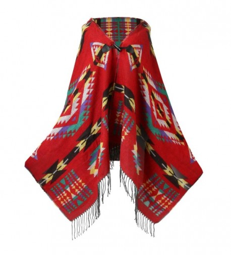 UTOVME Womens Wool Blend Fashion Bohemian Fringe End Poncho Cashmere Feel Cape - Red - C3126DGVLGX