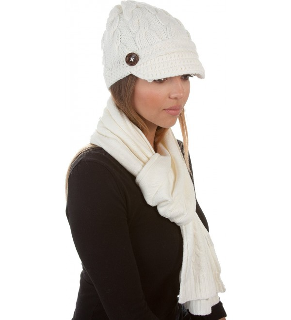 Sakkas Womens 2-piece Cable Knitted Visor Beanie Scarf and Hat Set with Button - Cream - C8117BB6FZH