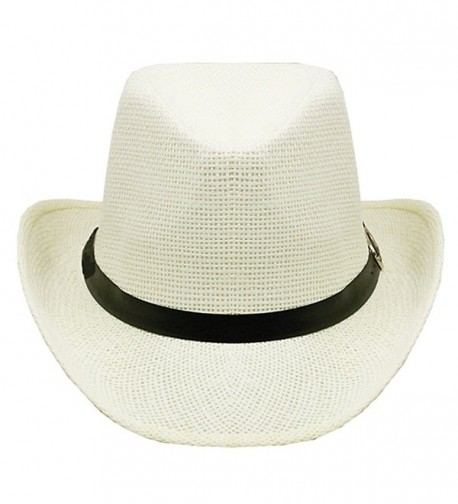 Silver Fever Woven Urban Panama Cowboy Hat with Ribbon - White - C112BWNNXJF