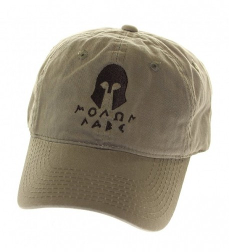Molon Labe Apparel Men's Cotton Hat Spartan Helmet 2 - Olive Black - CX11NZBI5YL