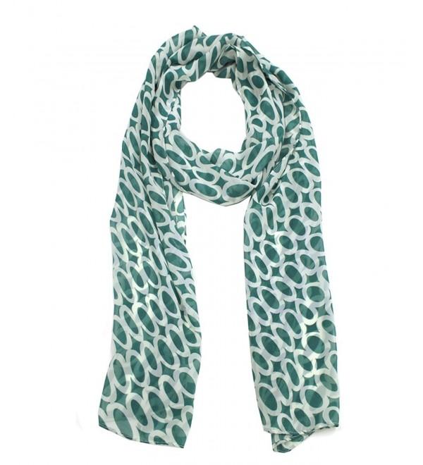 Modadorn Special Sale Circle Print Chiffon Scarf - Emerald - C311J0HMIQP
