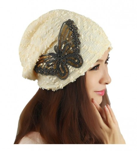 DEESEE Beanie Hat Winter hat Lace Butterfly Lady Skullies Turban Cap - Beige - C412MZL1LGG