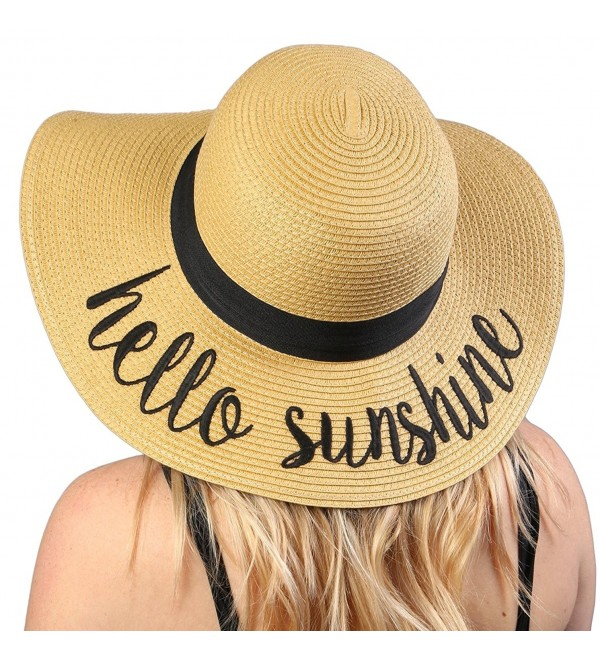 Funky Junque Women's Bold Cursive Embroidered Adjustable Beach Floppy Sun Hat - Hello Sunshine - C917X0M496N