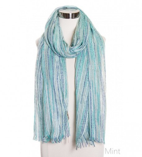 ScarvesMe Fashion Stripe Lurex Oblong Scarf - Mint - CS11W02W29P