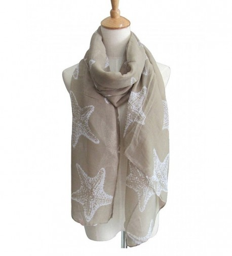 Women's Fashion Party Shawl Starfish Printed Spring Summer Scarves Girls Gift - Beige - C317YQL2L69