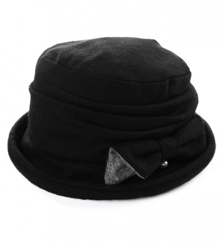 Siggi Ladies Wool Cloche Hats Winter Bucket Hat 1920s Vintage Derby Hat Foldable - 89369_black - CI187CXNTEL