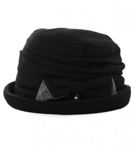 64aec9d6ddd Ladies Wool Cloche Hats Winter Bucket Hat 1920s Vintage Derby Hat Foldable  89369_black CI187CXNTEL