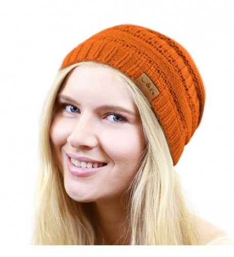 THE HAT DEPOT Women & Men Knit Beanie Soft- Warm and Chunky Beanie - Orange - CS12MA81A6W