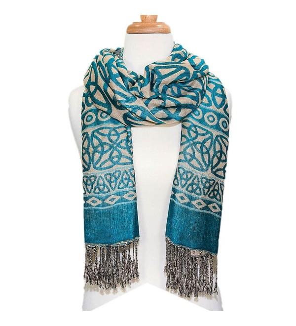 Ladies Celtic Knot Scarf- Irish Style- Celtic Fashion- Lightweight- Turquoise - CU12G20EY5F