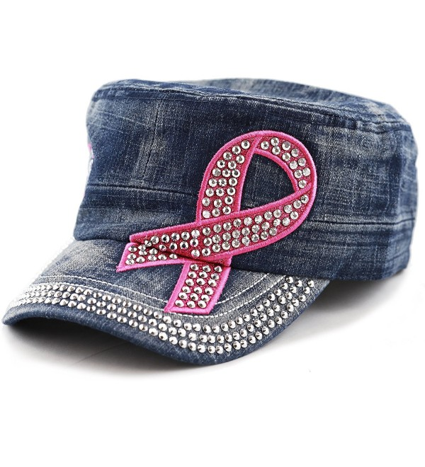 THE HAT DEPOT Breast Cancer Pink Ribbon Cotton Cadet Glitter Cap Hat - Dark Denim - CO182EWTU84