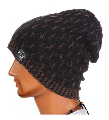 Foutou Men Winter Knitted Wool Slouchy Cap Ski Beanie Skull (Black) - C412N0KZC8E