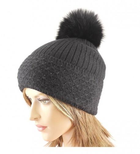 LA-EL COUTURE Women's Wool&Angora Rhinestones Fur Pom-Removable Warm Beanies - Black - C512BDDDDO9