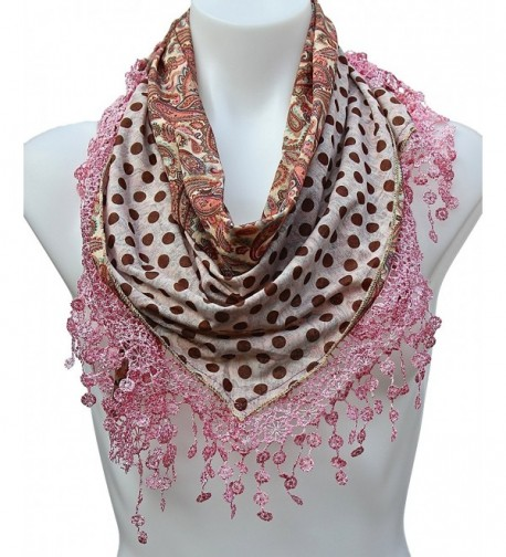 Terra Nomad Women's Girls Double Sided Paisley Polka Dots Triangle Scarf w/ Lace Trim - Rose - CC11HNRTWP9