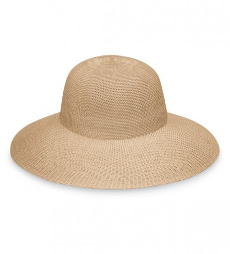 wallaroo Women's Victoria Diva Sun Hat- Packable Straw Hat - Tan - CG12NA5DP1J
