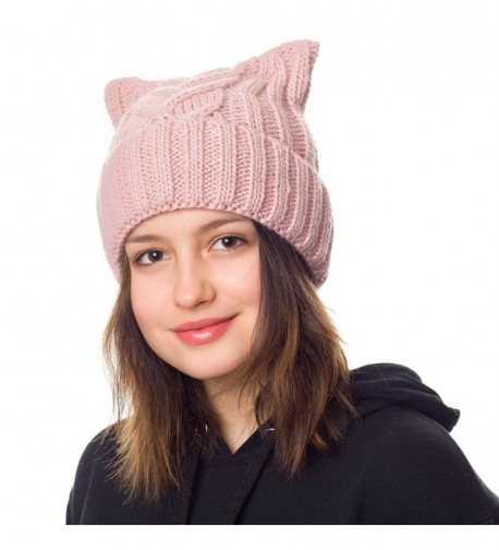 Pussy Cat Hat Women`s March-Cat Beanie Pink-Winter Hat For Women Lined With Fleece (Hot Pink) - Powder Pink - CE189GMYUCU