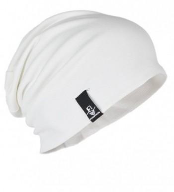 FORBUSITE Mens Cotton Summer Slouchy Beanie Cap Oversized B082-4 - White - CR182K5UMT7
