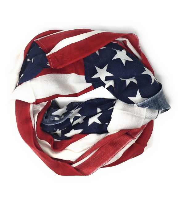 Large USA American Flag Red White and Blue Circle Infinity Scarf Shawl Wrap - Lightweight Flag - CA187KL64Z0