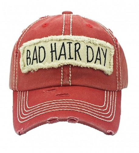 AH Adjustable Bad Hair Day Distressed Look Western Cowgirl Hat Cap JP - Red - CB180RN7TH6