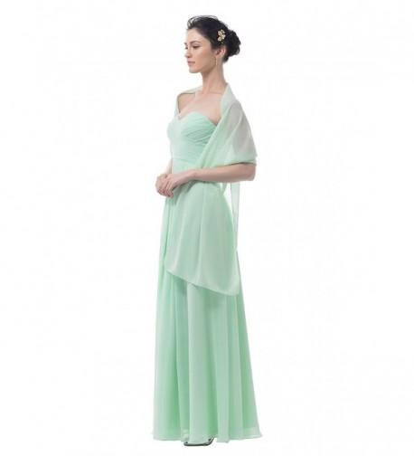 Alicepub Chiffon Bridal Shawl Wedding Wrap Stole Women's Evening Dress Scarf Bolero - Mint Green - CY17YX9WZI0