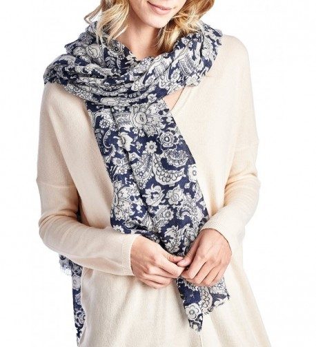 d5adca7dab67d 100% Merino Wool Printed Pashmina Scarf Shawls (Various Colors and Designs)  Navy Print C2126Y3S9FL