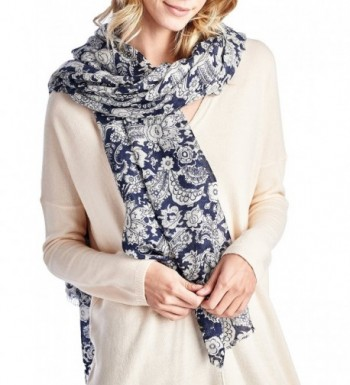 High Style 100% Merino Wool Printed Pashmina Scarf Shawls (Various Colors and Designs) - Navy Print - C2126Y3S9FL