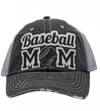 Baseball Mom Dad Sports Glittering Trucker Style Cap Hat | Rocks any Outfit | - Black - CO17YG29HAQ
