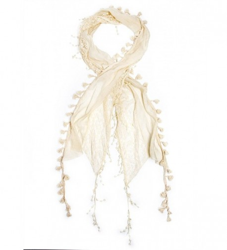 Bohomonde Della Scarf- Lace Tassel Scarf- Crochet Trim - Antique White - C411QHM0ZN9