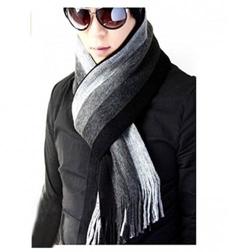 Unisex Winter Warm Long Scarf Thick Wool Knit Benetto Neck Warmer Shawl Wrap - Grey Stripes - C412N5MM54O