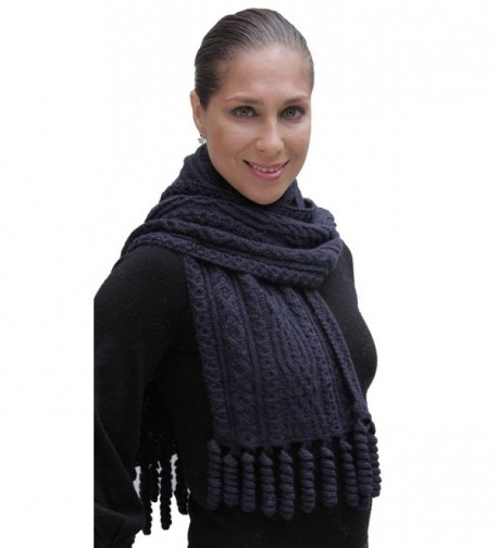 Hand Knitted Superfine Natural Alpaca Wool Cable Chunky Scarf Unisex Navy Blue - CW11H1CSHON