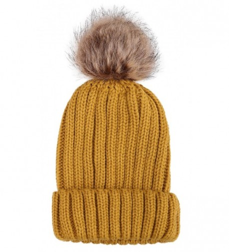 Arctic Paw Unisex Girls Children Mommy&me Cable Knit Beanie with Faux Fur Pompom - Adult-yellow - C01820K04WT