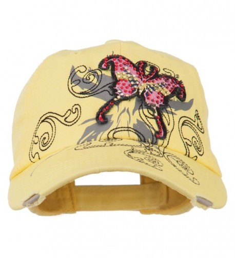 Baseball Cap with Jeweled Butterfly - Yellow - CM11P5HKF8R