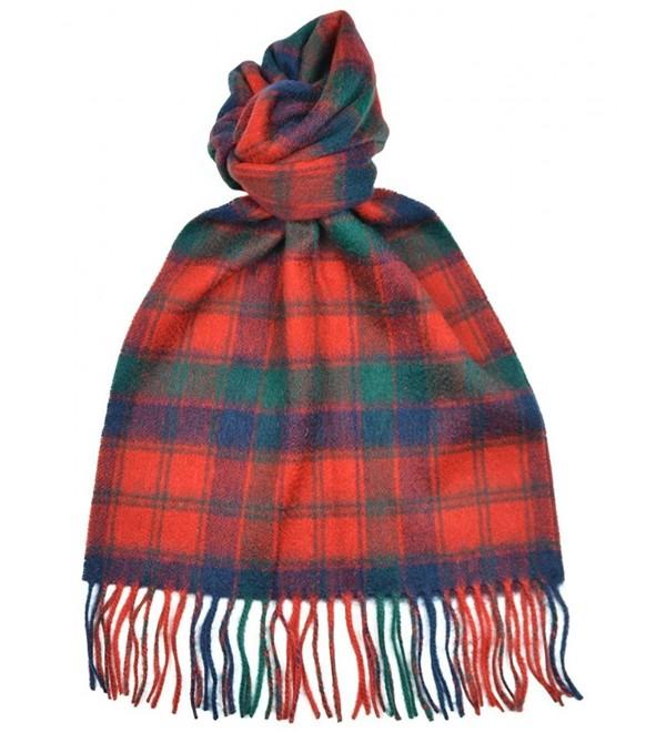 Lambswool Scottish Robertson Red Modern Tartan Clan Scarf Gift - CW11J14UYFJ