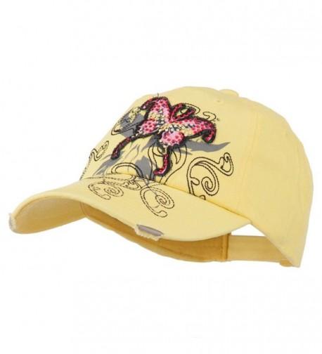 Baseball Cap Jeweled Butterfly Yellow