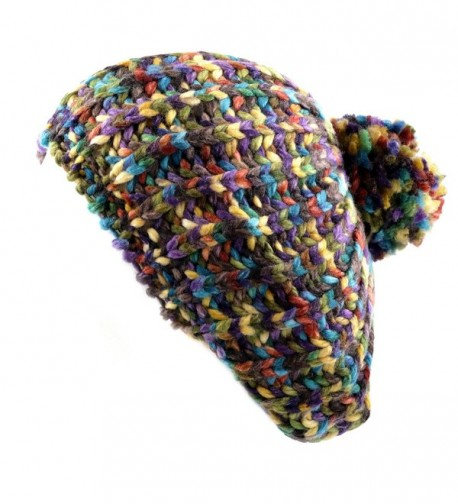 THE HAT DEPOT 700hat50 Multi Colors Knit Beret Tam With Pom Winter Hat - Turquoise Beige - CT126RCP0E7