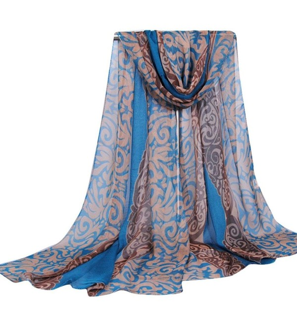 Emubody Women Palace Style Georgette Long Scarf Sunscreen - Blue - C812MR75EZB