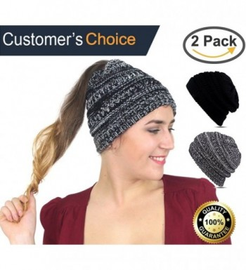 Cupid BeanieTail Soft Stretch Cable Knit- Messy High Bun Ponytail Beanie Headband - Black - White - CJ189XHRO0D