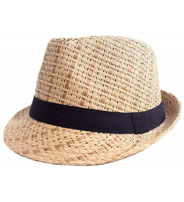 Straw Fedora Hat Men / Women's Summer Short Brim Beach Cap with Band - Brown Hat With Black Band - CV184RN59YD