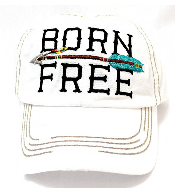 "New! IVORY ""BORN FREE"" Distressed Vintage Cap w/ Arrow Embroidery Adjustable Back - C01829ZOQSN"