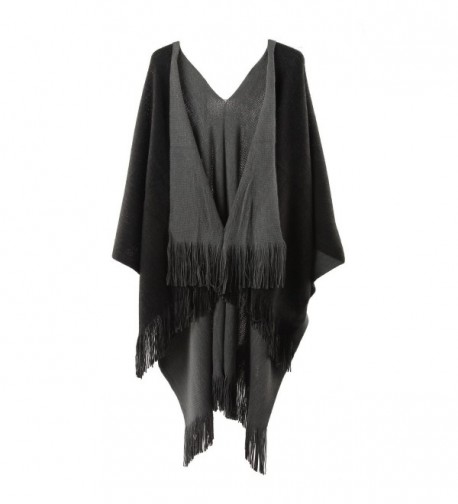Womens Two Sided Shawl Poncho Winter Solid Cape Pashmina Shawl/Blanket Plus Size - Black and Grey - CI12O7D1BW1