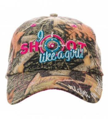 I Shoot Like A Girl! Embroidered Velcro Strap Baseball Cap in Camo - CZ182SOGIKT